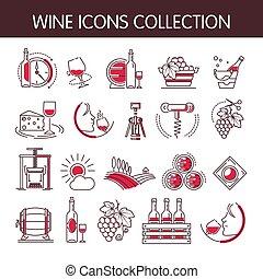 sätta, ikonen, industri, kollektion, produktion, vektor, vintillverkare, eller, winemaking, vin