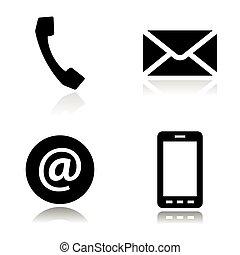 sätta, ikonen, kontakta, vektor, svart, fodra