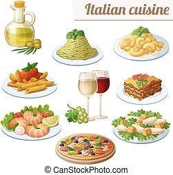 sätta, ikonen, mat, isolerat, bakgrund., cuisine., vit, ...