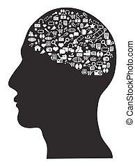 sätta, ikonen, media, hjärna, mänsklig, social