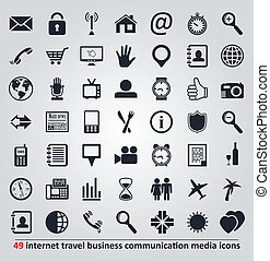 sätta, ikonen, media, resa, vektor, kommunikation, internet, affär