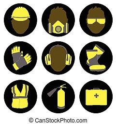 sätta, ikonen, säkerhet, undertecknar, hälsa, sysselsättnings