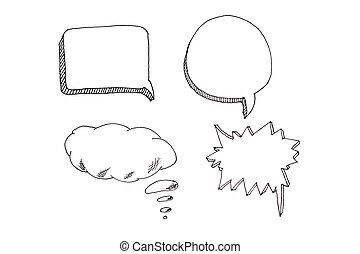 sätta, ikonen, text, anförande, plats, bubblar, din
