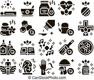 sätta, ikonen, traditionell medicin, naturopathy, vektor