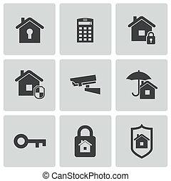 sätta, ikonen, vektor, svart, säkerhet hemma