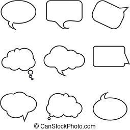 sätta, illustration, bakgrund., vektor, anförande, bubblar, vit