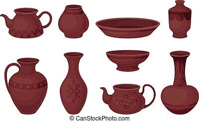 sätta, illustration, bakgrund., vektor, pottery., vit