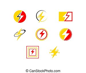 sätta, illustration, blixt, vektor, design, mall, logo, ikon