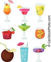 sätta, illustration, cocktails., bakgrund., vektor, vit