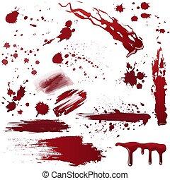 sätta, illustration., måla, realistisk, vektor, olika, blod, splatters., eller
