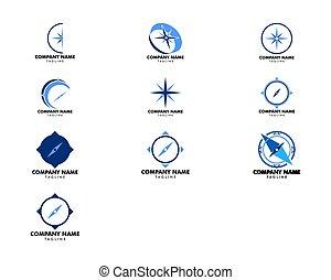 sätta, illustration, mall, logo, vektor, design, ikon, kompass