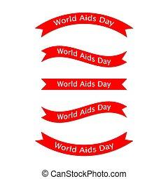 sätta, illustration., ribbons., vektor, aids, värld, dag
