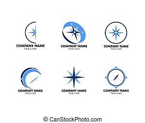 sätta, illustration, vektor, design, mall, kompass, logo, ikon