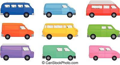 sätta, illustration, vit, minibuses., bakgrund., vektor