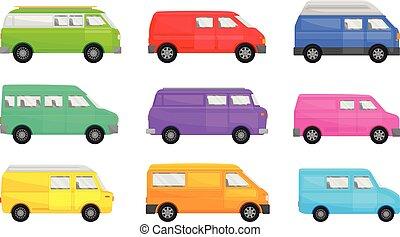 sätta, illustration, vit, minivans., bakgrund., vektor