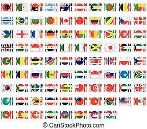 sätta, -, illustrerat, flaggan, cuttlery, värld