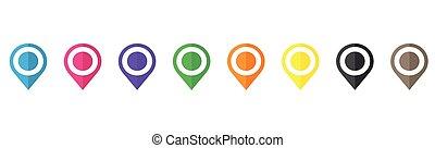 sätta, isolerat, karta, pekare, vit fond