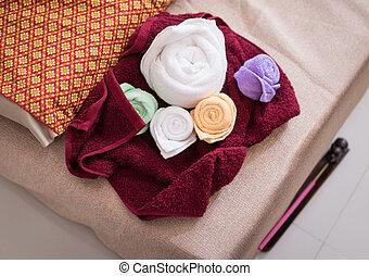 sätta, jaga, förberedande, handdukar, kurort, thai, massera