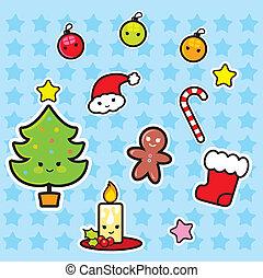 sätta, jul, elementara, ikon