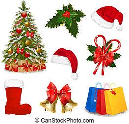 sätta, jul, objects., vector.