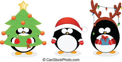 sätta, jul, pingvin