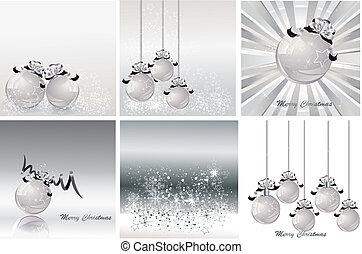 sätta, jul, vektor, silver, design, illustration.