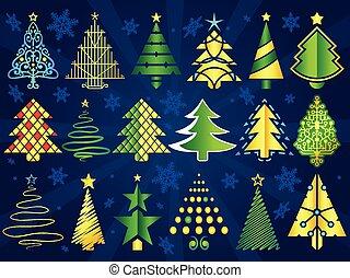 sätta, jul, vektor, träd
