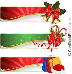 sätta, jul, vinter, banners.