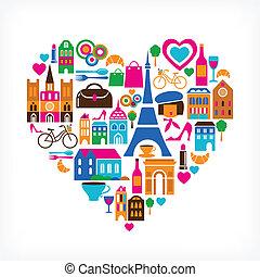 sätta, kärlek, ikonen, -, illustration, vektor, medeltal
