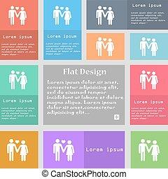 sätta, kärlek, utrymme, par, text., flerfärgad, knäppas, vektor, skylt., ikon