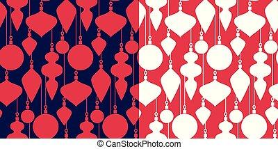 sätta, klassisk, enkel, mönster, seamless, jul