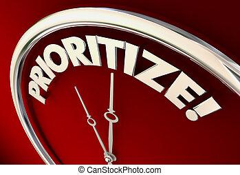 sätta, klocka, prioritize, illustration, priorities, tid, 3
