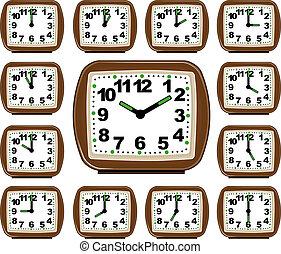 sätta, klocka, tid