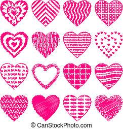 sätta, klottra, hjärta, valentinbrev