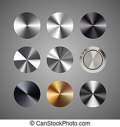 sätta, knapp, metall, vektor, gradients, toppformig