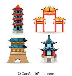 sätta, kollektion, vektor, porslin, design, tempel