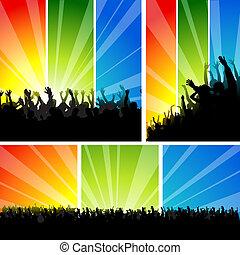 sätta, konsert, folkmassa