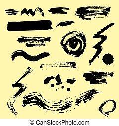 sätta, konst färg, stänka ner, form, design, bläck, rörig, silhuett, svart, vit, blots, grunge, illustration, stänk, flytande, element, vektor, stänka, smutsa ner, kollektion, bakgrund