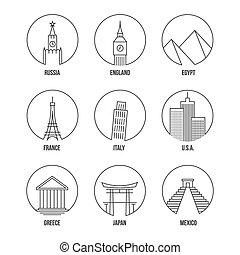 sätta, konst, ikonen, gränsmärke, värld, fodra