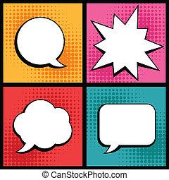 sätta, konst, pop, anförande, bubblar, style.