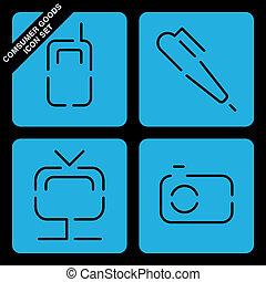 sätta, konsument, ikon, gods