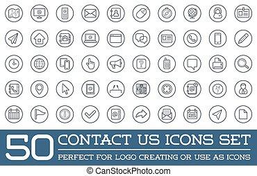 sätta, kontakt oss, ikonen