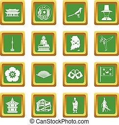 sätta, korea, grön, syd, ikonen