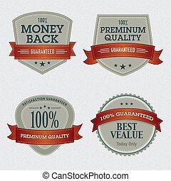 sätta, kvalitet, premie, etiketter