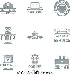 sätta, kylmedel, stil, enkel, logo