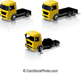 sätta, lastbil, ikonen