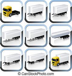 sätta, lastbil, trailaers, ikonen
