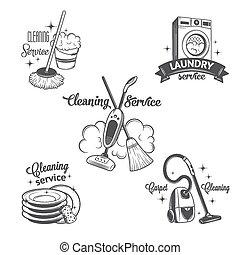 sätta, logo, årgång, etiketter, rensning, tjänsten, märken