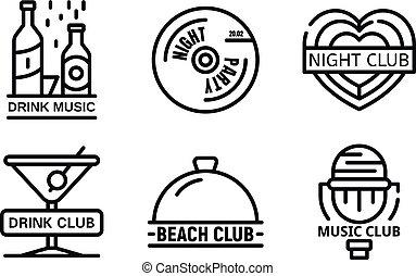 sätta, logo, stil, skissera, nattklubb