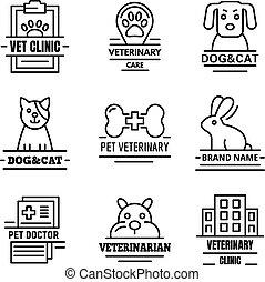 sätta, logo, stil, veterinär, skissera